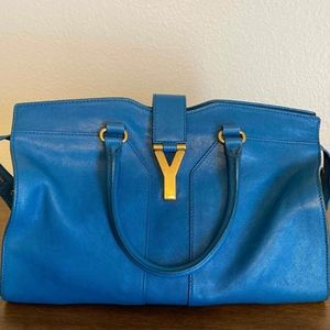 YSL Medium Cabas ChYc Tote in Peacock Blue